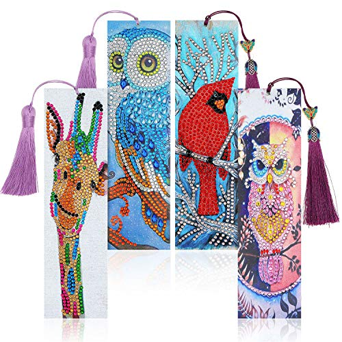 4 Sets 5D Diamond Painting Bookmarks Animal Leather Tassel Bookmark with Diamond Painting Tools for Halloween Christmas Kids Adults Beginner Crafts Supplies