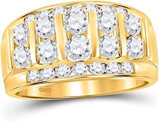 FB JEWELS 14kt الذهب الأصفر رجل جولة الماس مجموعة قناة الزفاف الفرقة 2 Cttw