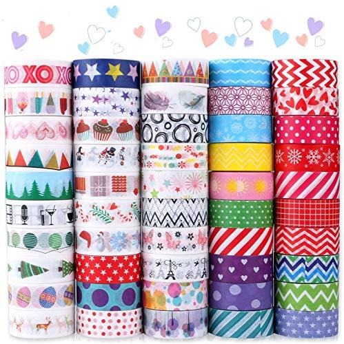 Buluri 50 Rollos de Cinta Adhesiava Washi Cinta Adhesiva Decorativa para Scrapbooking DIY Manualidades ✅