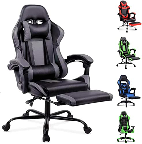 ALFORDSON Gaming Chair Racing Chair Executive Sport Office Chair with Footrest PU Leather Armrest Headrest Home Chair...