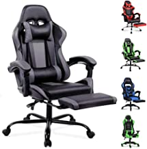 ALFORDSON Gaming Racing Chair Executive Sport Office Chair with Footrest PU Leather Armrest Headrest Home Chair in Grey Co...