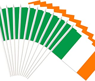 Anley Ireland Mini Flag 12 Pack - Hand Held Small Miniature Irish National Flags on Stick - Fade Resistant & Vivid Colors - Hibernian 5x8 Inch with Solid Pole & Spear Top