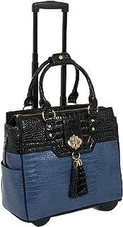 """The Oceanside"" Blue & Black Alligator Faux Leather Computer iPad, Laptop Tablet Rolling Tote Bag Briefcase Carryall Bag"