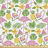 Ambesonne Exotic Fabric by The Yard, Print of Flamingos Watermelons Pineapples and Island Flowers Leaves, Decorative Fabric for Upholstery and Home Accents, 1 Yard, Pink Green