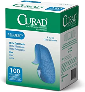 """Curad Metal Detectable, Blue, Flex-Fabric, 1"""" X 3"""" Adhesive Bandages for Food Service (1)"""
