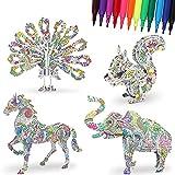 DigHealth Puzzle 3D de Colorear Set, 4 Piezas Rompecabezas de Pintura Animales Artesanías con 12 Rotuladores Pen, DIY Art Craft Kit, Manualidades Puzzle para 5-12 Años Niños Desarrollo Intelectual
