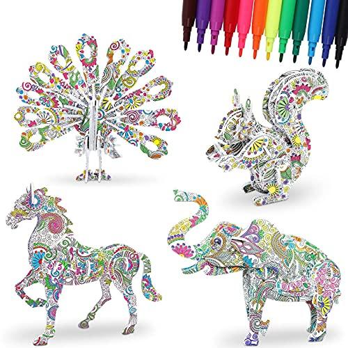 DigHealth Puzzle 3D da Colorare Set, 4 Pezzi Puzzle di Pittura Animali con 12 Pennarelli, Regalo Educativo per Sviluppo Intellettuale e Interazione Famiglia, Artigianato Kit per 5-12 Anni Bambini