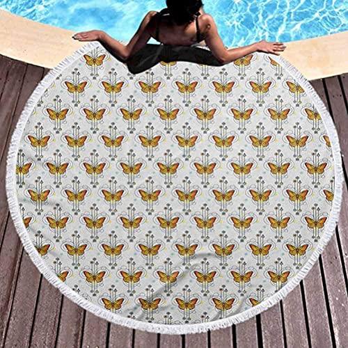 Lyxig tjock rund strandhandduk tatuering bad strand handdukar poolhanddukar orange fjärilar i mystisk sammansättning själsande och naturtema multifunktionell filt (diameter 150 cm)