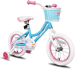 JOYSTAR Angel Girls Bike 12 14 16 18 Inch Kids Bike with Training Wheels for 2-9 Years Old, 18 Inch Kids Bike with Kicksta...