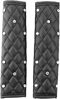 Forala Car Seat Belt Pads PU Leather Shoulder Strap Covers Bling Crystals for Women (Black)