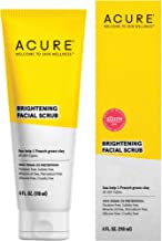 Acure Brightening Facial Scrub |100% Vegan |For A Brighter Appearance | Sea Kelp & French Green Clay - Softens, Detoxifies and Cleanses | All Skin Types | 4 Fl Oz (Packaging May Vary) (ET1012)