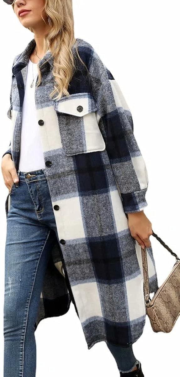 Women's Casual Long Plaid Wool Blend Shacket Button Shirt Long Jacket Coat Loose Cardigan Windbreaker Outerwear