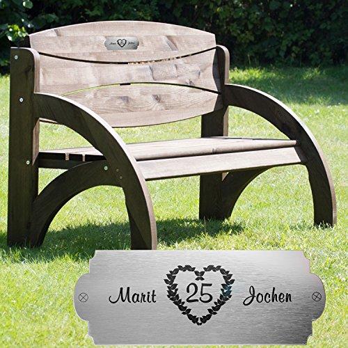 Geschenke 24: Personalisierte Gartenbank zur Silberhochzeit Kolonial Nussbaum - eine originelle Geschenkidee mit Namen graviert – Hochzeitsgeschenke zum 25. Hochzeitstag für das Ehepaar
