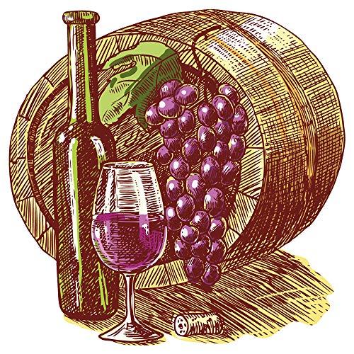 dekodino® Wandtattoo Weinfass mit Trauben und Weinglas Küche Esszimmer Deko