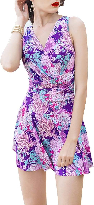FENGMING Damen Einteiliger Badeanzug Push Up Badeanzug Rückenfreies Badebekleidung Swimdress (Farbe   Lila, gre   XXL)