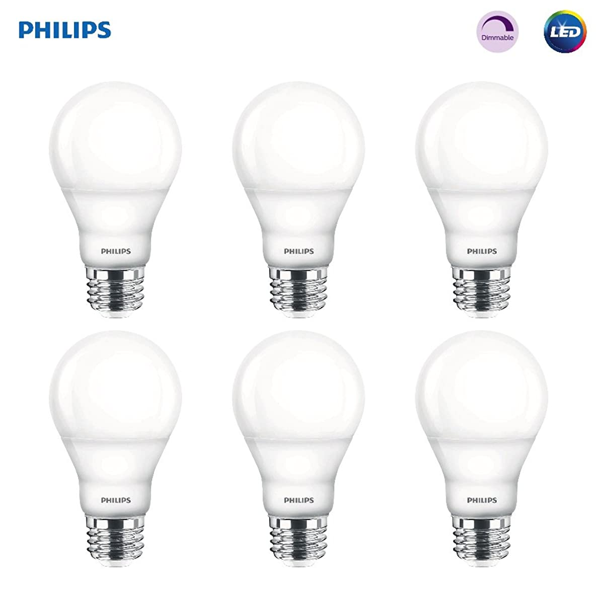 Philips LED Dimmable A19 Frosted Light Bulb: 800-Lumen, 2700-Kelvin, 9.5-Watt (60-Watt Equivalent), E26 Base, Soft White, 6-Pack (Old Generation)