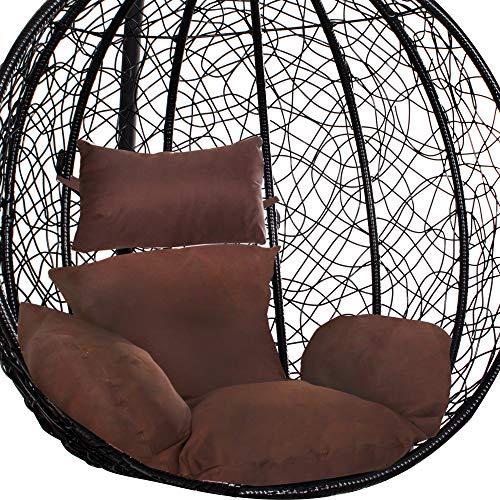 SPRINGOS poduszka na fotel wiszący, nakładka na huśtawkę wiszącą z polirattanu, poduszka na plecy, zagłówek (brązowy)