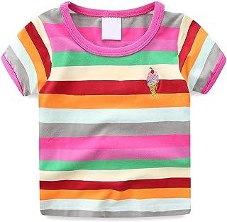 LJYH Boys Girls Rainbow Striped T Shirt Kids Summer Crew Neck Tee