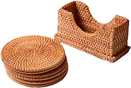 BESTONZON Round Rattan Heat Resistant Mats Hot Dishes-Insulated Hot Pads Durable Pot Holder for Table Pots Pans Teapots (Vertical Coaster Set)