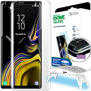 Galaxy Note 9 Screen Protector, [Dome Glass] Full 3D Curved Edge Tempered Glass Shield [Liquid Dispersion Tech] Easy Install Kit by Whitestone for Samsung Galaxy Note 9 (2018) - 1 Pack