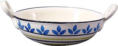 Caffeine Ceramic Handmade Flora Serving Kadhai Large (Set of 1)