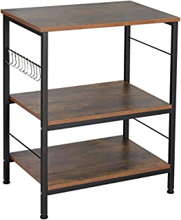 Nightstands, Industrial Microwave Oven Stand Kitchen Baker's Rack End Table 3 Tier Storage Shelf with 10 Hooks for Living ...