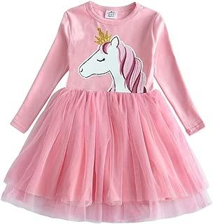 Little Girl Children Kid Long Sleeve Flower Cotton Dresses for 2-8T