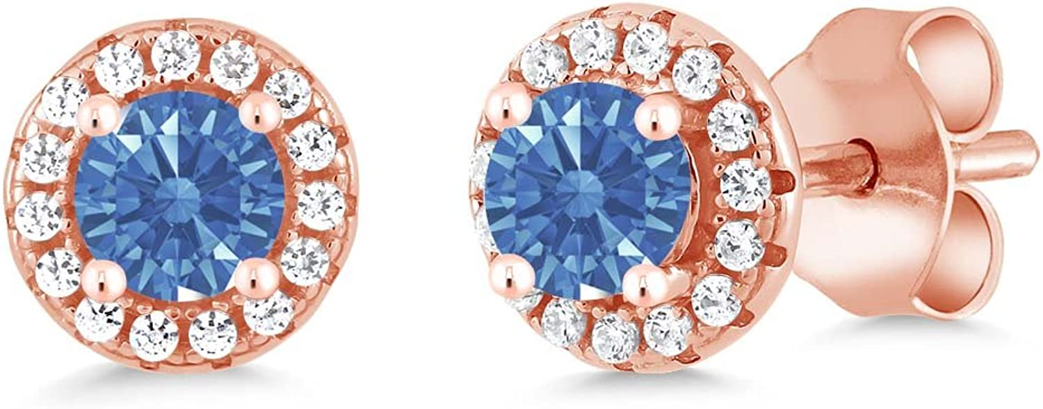 0.65 Ct bluee 925 pink gold Plated Silver Earrings Made With Swarovski Zirconia