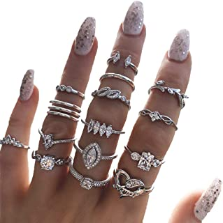 BELICEY 9-15PCS Knuckle Stacking Rings Set for Women Crystal Rhinestone Finger Statement Ring Sets Vintage Joint Knot Mid ...