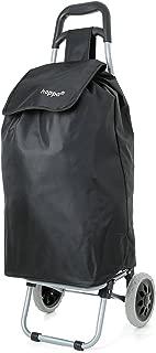 Hoppa 47L Lightweight Shopping Trolley, Hard Wearing & Foldaway for Easy Storage with 3 Years Guarantee (Black Plain)