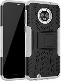 Moto E5 Play Case, Moto E5 Cruise Case, YMH Heavy Duty with Kickstand Full-Body Durable Rugged Armor Military Grade & Resilient Shock Absorption Case Cover for Motorola E5 Play, E5 Cruise (White)