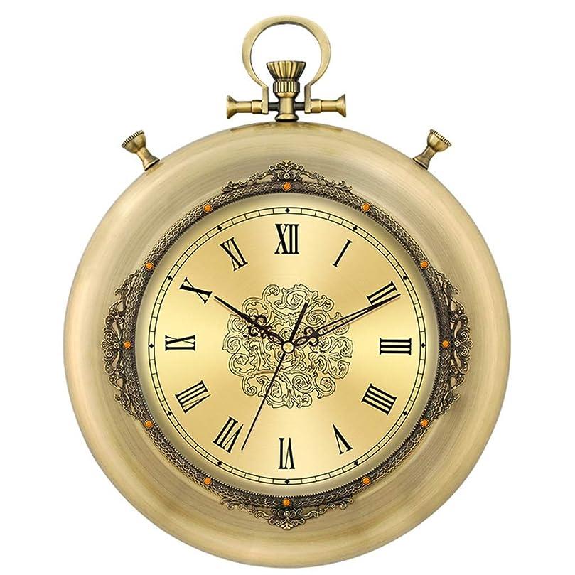 とまり木労働者小数時計壁掛け時計電池式ローマ数字ノンティッククリエイティブ装飾的なリビングルームの装飾ヴィンテージレトロメタルサイレントクォーツ時計&家庭用時計(サイズ:A)