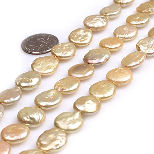 12-13mm Peacock Coin Flat Disc Freshwater Pearls Beads A for Jewelery Making