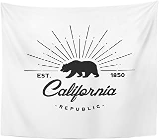 Emvency Tapestry Bear California Republic Retro Emblem Flag State Vintage Hipster Home Decor Wall Hanging for Living Room Bedroom Dorm 50x60 Inches