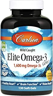 Carlson - Elite Omega-3 Gems, 1600 mg Omega-3 Fatty Acids Including EPA and DHA, Norwegian, Wild-Caught Fish Oil Supplement, Sustainably Sourced Omega 3 Fish Oil Capsules, Lemon, 130 Softgels
