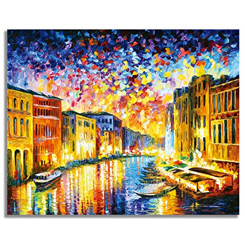"""Perkisboby Paint by Numbers for Adults Beginner, DIY Canvas Oil Painting Kit with Acrylic Pigment & 6 Brushes, 16"""" W x 20"""" L Gorgeous Night"""