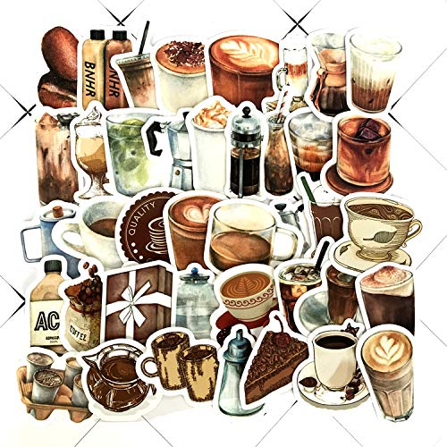 Rooftop Cafe Coffee Beans Into Special-shaped Hand Account Stickers Tablet Phone Water Cup Decoration Stickers 40pcs