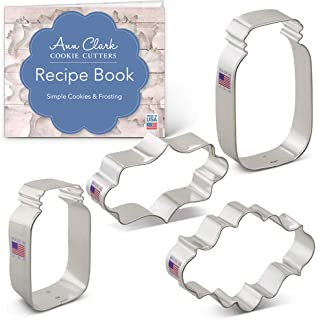 Ann Clark Cookie Cutters 4-Piece Mason Jar & Plaque Cookie Cutter Set with Recipe Booklet