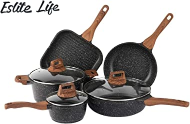 ESLITE LIFE Pots and Pans Set Nonstick Cookware Set Induction Compatible with Granite Stone Coating, 8 Piece