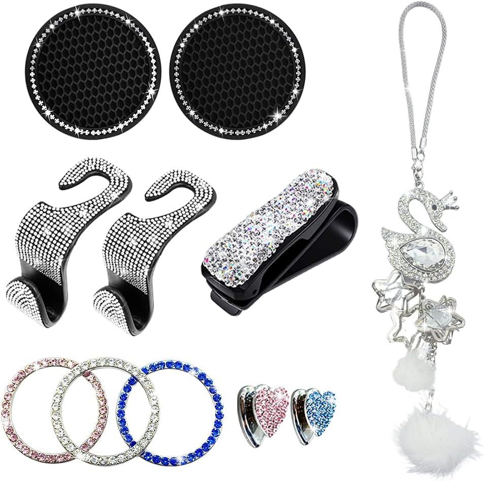 EXZ Bling Car Accessories Set for Women, Car Cup Coaster, Push Start Button, Car headrest Hooks, Cute Car Sticker Hooks, Rear View Mirror Car Ornament, Glasses Holders for Car Sun Visor(11pcs)
