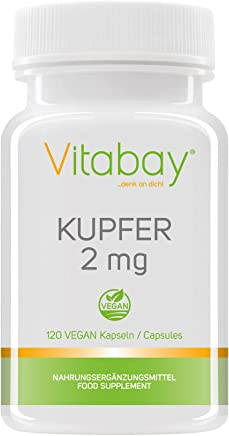 Kupfer 2 mg - Kupfergluconat - rein vegan und natürlich - 120 vegane Kapseln