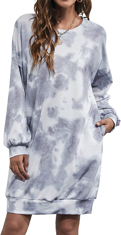 Lu's Chic Women's Long Sleeve Sweatshirt Dress Tie Dye Oversized Pullover Crewneck Tunic Tops