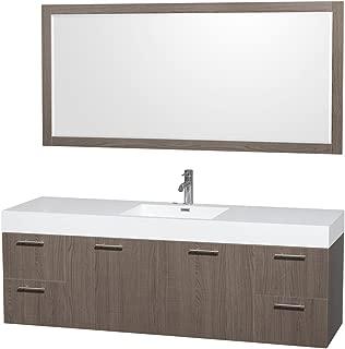 Wyndham Collection Amare 72-inch Single Bathroom Vanity, Acrylic-Resin Top, Integrated Sink, 70-inch Mirror Grey