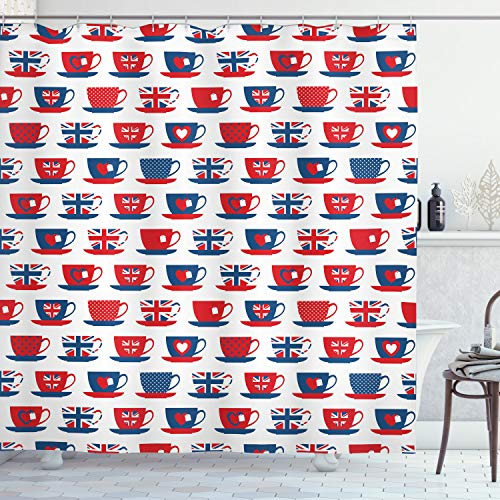 """Ambesonne Tea Party Shower Curtain, Britain Themed Teacup Forms Patterned Union Jack Hearts Flags, Cloth Fabric Bathroom Decor Set with Hooks, 70"""" Long, Vermilion Blue"""