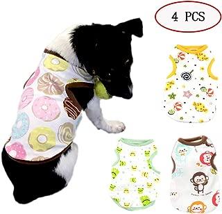ABRRLO 4 PCS Cotton Pet Dog Shirts Cartoon Print Dog T-Shirt Spring Summer Dog T Shirt Clothes for Small Dogs Doggie Vest Apparel