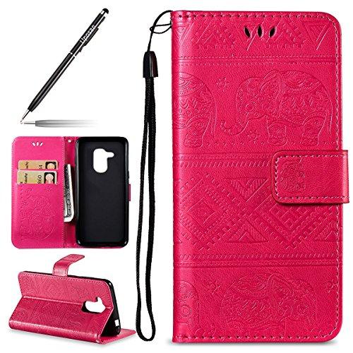 Uposao Kompatibel mit Handyhülle Huawei Honor 6C Pro Handytasche Handy Schutzhülle Prägung Elefanten Muster Lederhülle Hülle Ledertasche Bookstyle Leder Klapphülle Flip Hülle Cover Kartenfach,Rose Rot