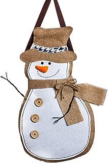 """Evergreen Flag Winter Snowman Hanging Outdoor-Safe Burlap Door Décor – 13.75""""W x 20.75""""H"""