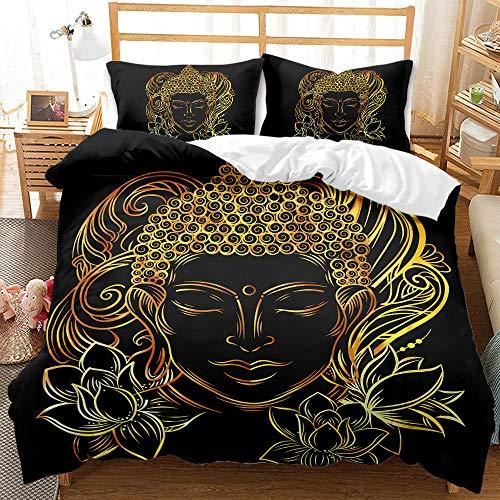 Bedclothes-Blanket Juego de Cama Matrimonio,Sandwapping 3D Digital Print Redding Golden Buddha Statue-6_200 * 200 cm