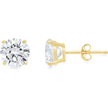 4.0 ct Round Cut Simulated Diamond CZ Solitaire Martini Style Stud Earrings in 14k Yellow Gold Screw Back Clara Pucci CP EAR 22