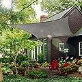 Rectangle Sun Shade Sail Canopy, 10' x 10' Patio Shade Cloth Outdoor Cover - UV Block Sunshade Fabric Awning Shelter for Pergola Backyard Garden Carport (Grey)